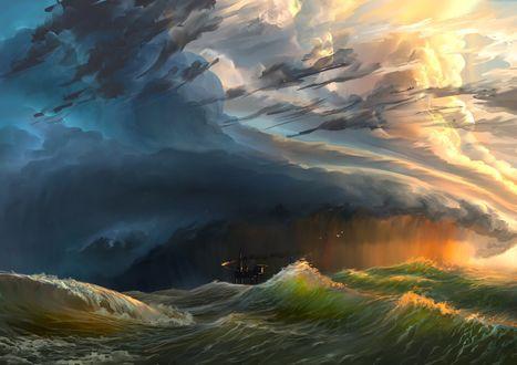 Обои Работа Whale / кит, шторм на море, by aerroscape