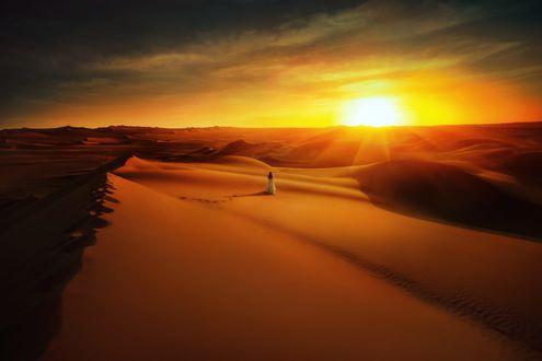 Обои Девушка в длинном платье стоит в пустыне, фотограф TJ Drysdale