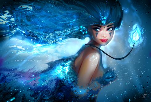 Обои Красивая девушка с магическим кулоном на шее под водой, by Ryky