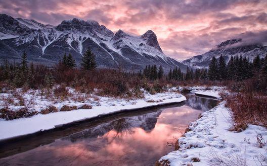 Обои Река под вечерним небом, на горизонте лес и заснеженные горы