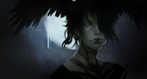 Обои Парень с черными крыльями на голове, by FeliceMelancholie