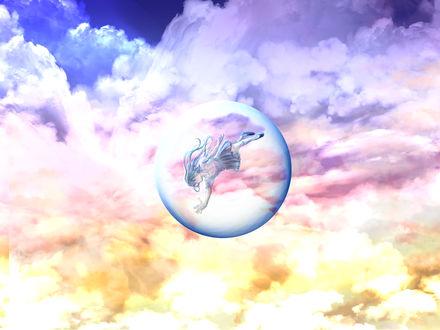 Обои Девушка внутри пузыря парит в облачном небе, by saya