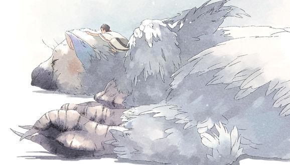 Обои Безымянный мальчик и Трико / Trico, арт по игре The Last Guardian