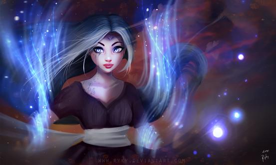 Обои Воин ветра, девушка в голубом свечении, by ryky