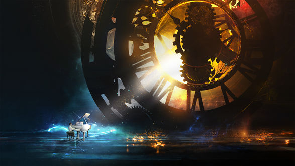 Обои Мальчик сидит за белым роялем перед огромным часовым механизмом, by t1na on DeviantArt