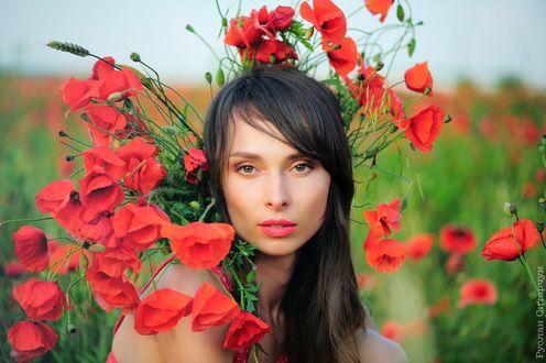 Обои Девушка с красными маками, фотограф Руслан Ситарчук