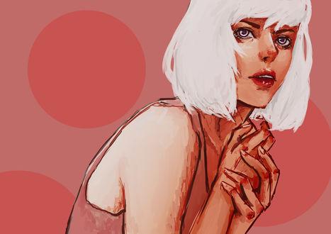 Обои Девушка альбинос на красном фоне, by KsenLeman