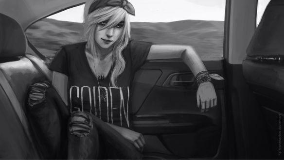 Обои Черно-белый портрет девушки в авто, by FranzNacion
