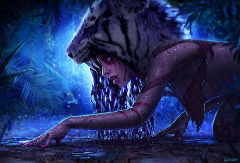 Обои Девушка с маской головы тигра под дождем, by Zarory