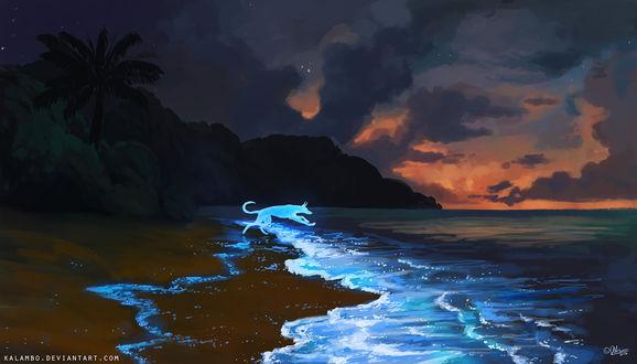 Обои Собака в свечении и сверкающие волны под облачным небом, by kalambo
