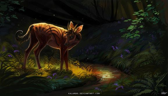 Обои Сказочный олень в лесу стоит у ручья, by kalambo