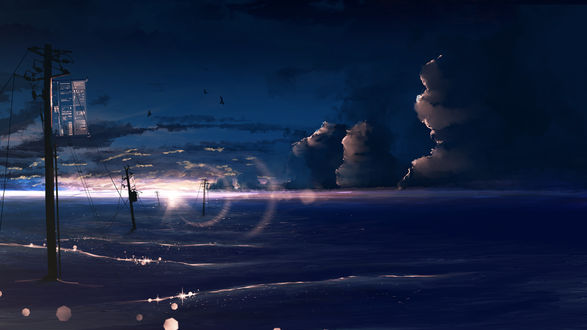 Обои Линии электропередач на фоне восхода солнца, by y y -ysk ygc