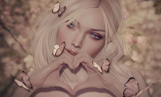 Обои Светловолосая девушка с бабочками сложила пальцы в форме сердечка