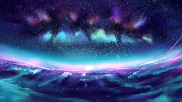 Обои Северное сияние над землей, by crylica-kress