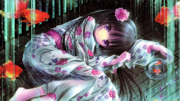 Обои Маленькая девочка в традиционном кимоно с цветком пиона в волосах