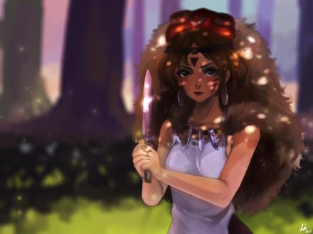 Обои Принцесса Мононокэ Сан / San из аниме Princess Mononoke / Принцесса Мононоке / Mononoke Hime, by Rosuke97