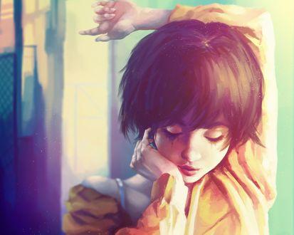 Обои Девушка держит руку на голове, by akramness