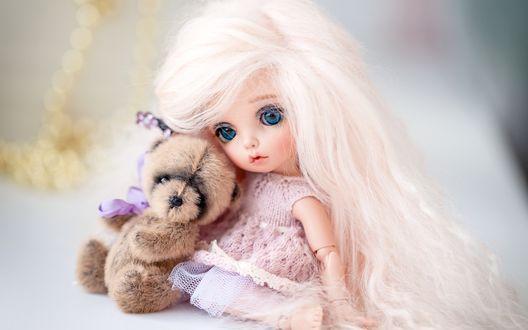 Обои Кукла с плюшевым медвежонком на размытом фоне