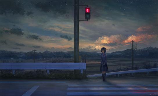 Обои Девочка в школьной форме стоит на пешеходной дорожке