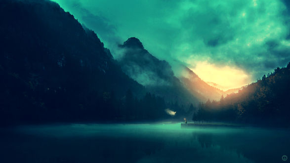 Обои Воин целится из лука с огненной стрелой в призрака, парящего над туманным озером в горах