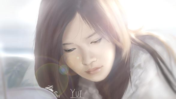 Обои Азиатская девушка на что-то смотрит (yui), by Rosuke97