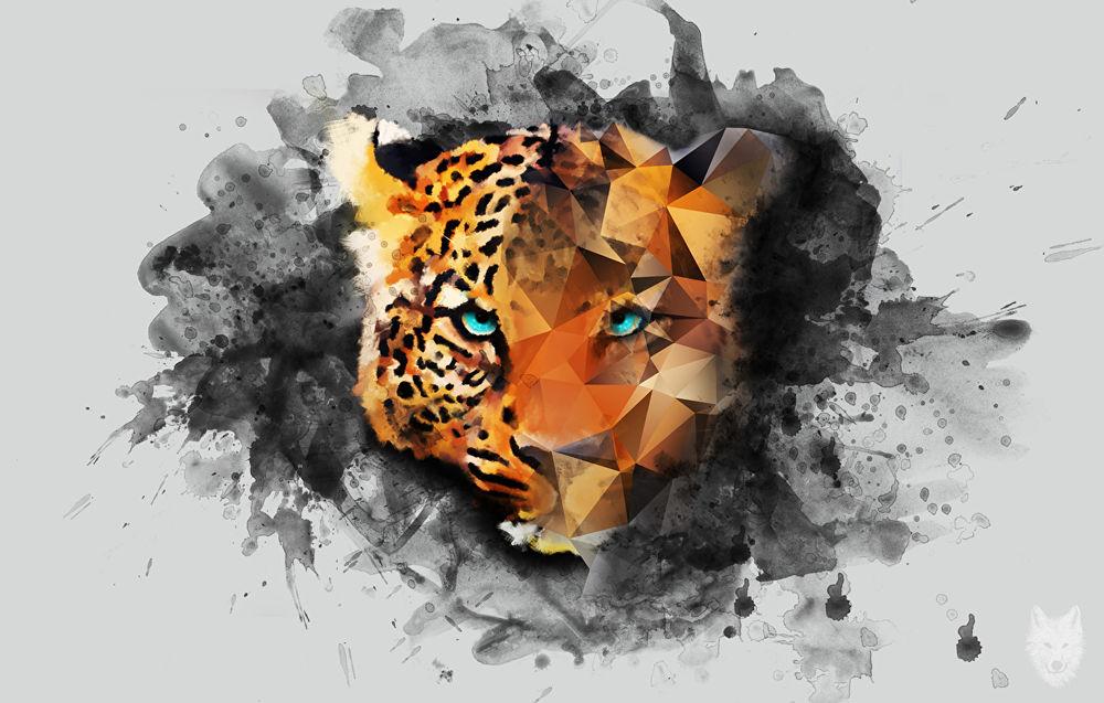 Обои для рабочего стола Абстрактный рисунок леопарда