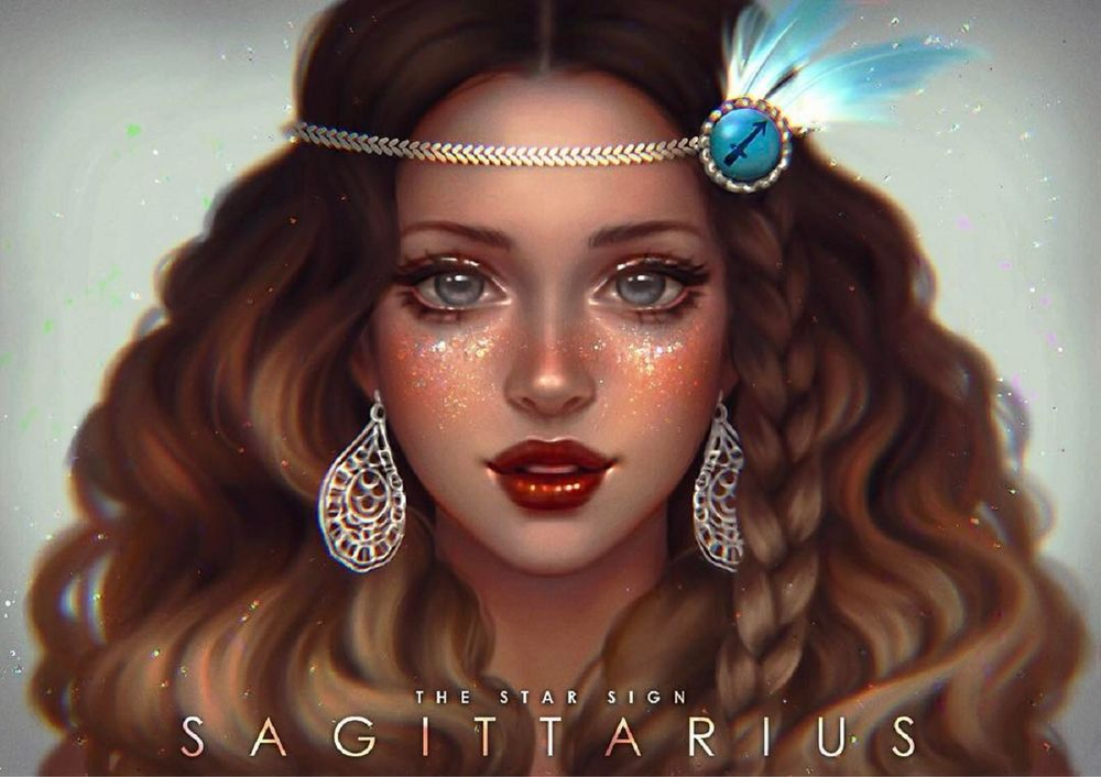 Обои для рабочего стола Красивая девушка с серьгами и украшением на голове, by serafleur (The star sign SAGITTARIUS / Знак зодиака стрелец)