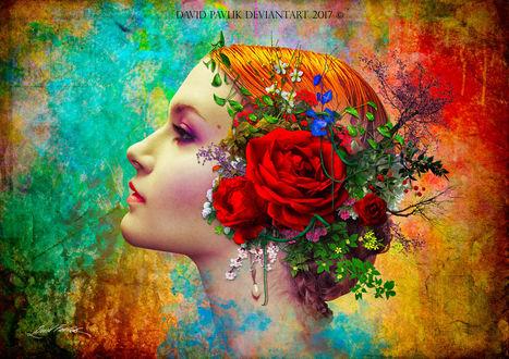 Обои Девушка с цветами на голове, работа Carmen / Кармен, by da505