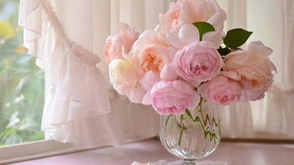 Обои Букет нежно-розовых ранункулюсов в вазе на подоконнике