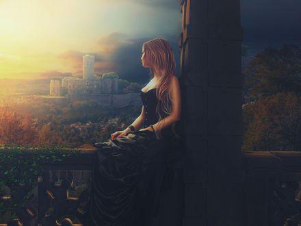 Обои Девушка в длинном черном платье смотрит на крепость вдалеке, by da505