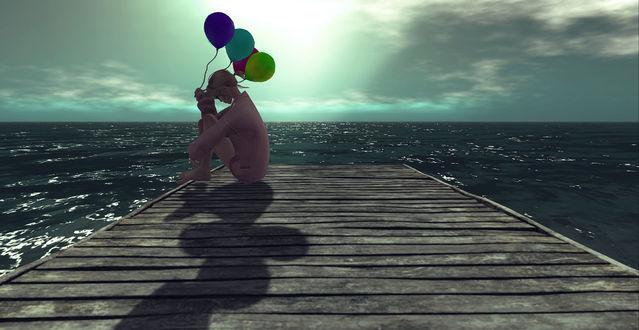 Обои Девушка с шарами сидит на мостике, by Lucy Diamond