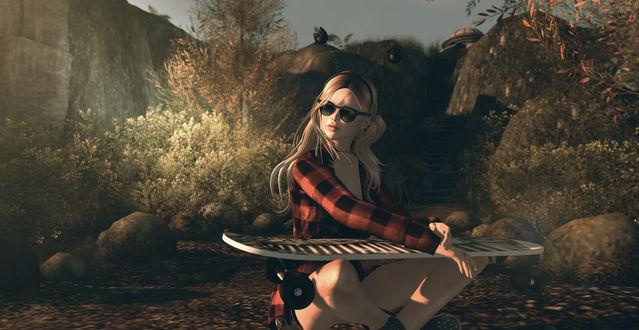 Обои Девушка в очках со скейтбордом, by Lucy Diamond