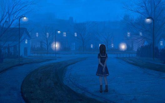 Обои Девочка-школьница стоит на дороге вечернего города