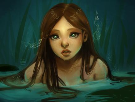 Обои Девушка сидящая в воде, by Avvoula