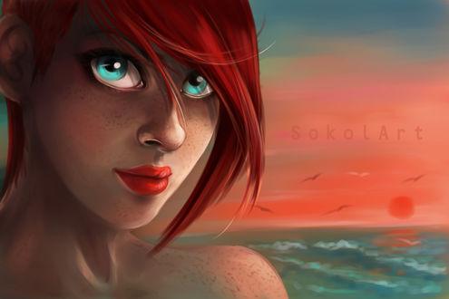 Обои Рыжеволосая и голубоглазая девушка на фоне неба и моря, by sokolick