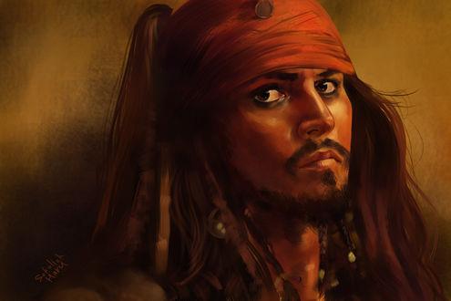 Обои Капитан Джек Воробей / Jack Sparrow из фильма Пираты Карибского моря / Pirates of the Caribbean, by sokolick