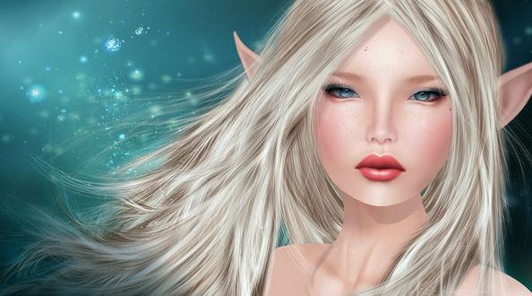 Обои Эльфийка со светлыми волосами на фоне звездного неба, by LouLou Teichmann
