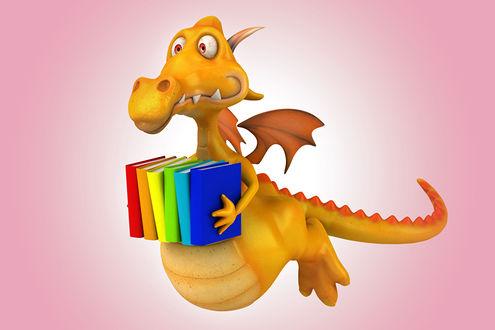 Обои Симпатичный дракончик собрался в школу