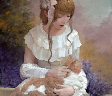 Обои Девушка с котом на руках, by Or lyn