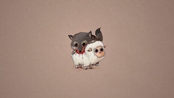 Обои Серый волк кусает белого барашка