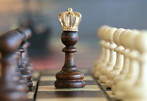Обои Черная пешка в короне стоит на шахматной доске на размытом фоне