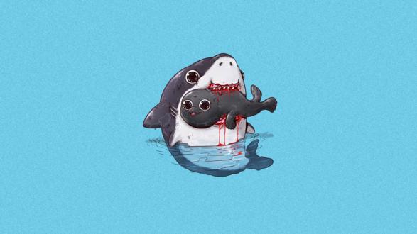 Обои Акула ест котика, by Alex Solis