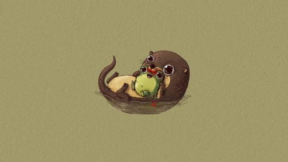 Обои Андатра ест лягушку