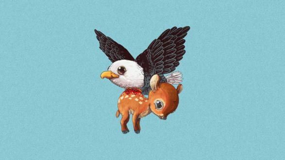 Обои Орел тащит олененка, американский иллюстратор Алекс Солис