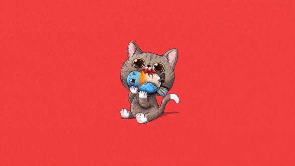 Обои Котик ест птичку, американский иллюстратор Алекс Солис