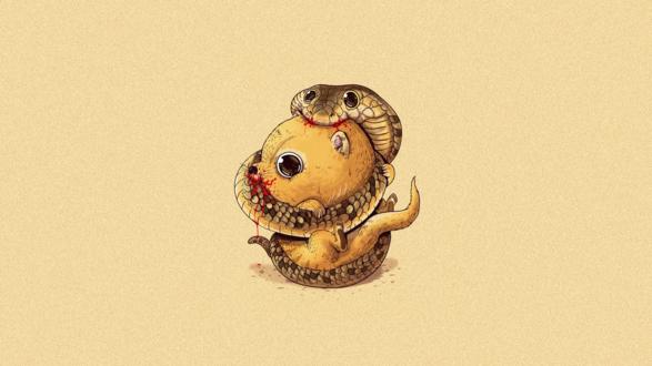 Обои Кобра и мангуст едят друг друга, американский иллюстратор Алекс Солис