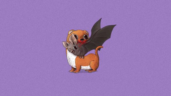 Обои Ласка ест летучую мышь, американский иллюстратор Alex Solis / Алекс Солис