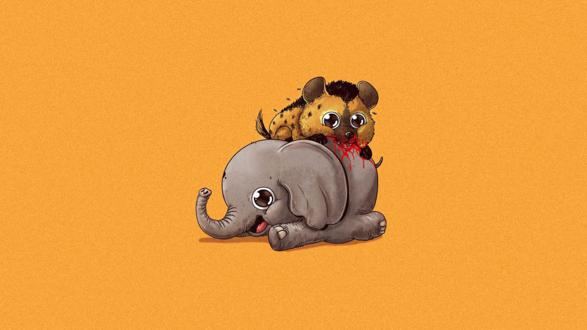 Обои Гиена ест слоника, американский иллюстратор Alex Solis / Алекс Солис