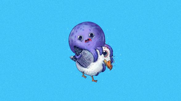 Обои Осьминог ест чайку, американский иллюстратор Alex Solis / Алекс Солис