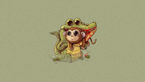 Обои Крокодил кусает обезьянку, американский иллюстратор Alex Solis / Алекс Солис